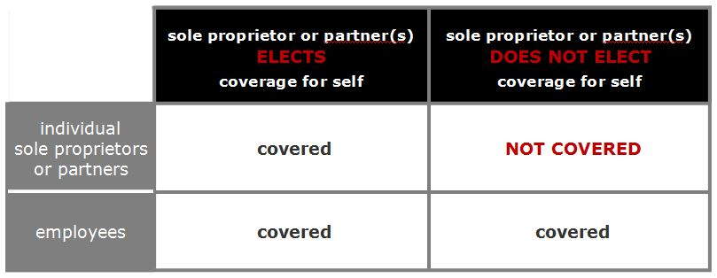 Workers' comp sole proprietor coverage chart